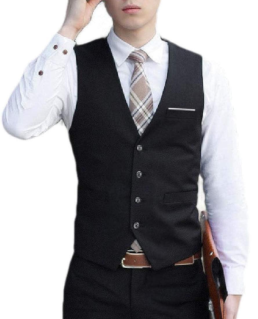 LKCEN-CA Mens Button Up V Neck Blazer British Style Business Suit Dress Vest