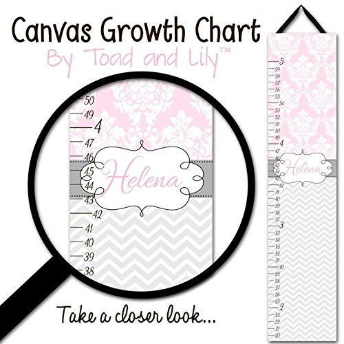 Girl Canvas Wall Art Personalized (Canvas GROWTH CHART Pink and Grey Chevron and Damask Girls Bedroom Baby Nursery Wall Art Personalized Canvas Growth Chart GC0214)