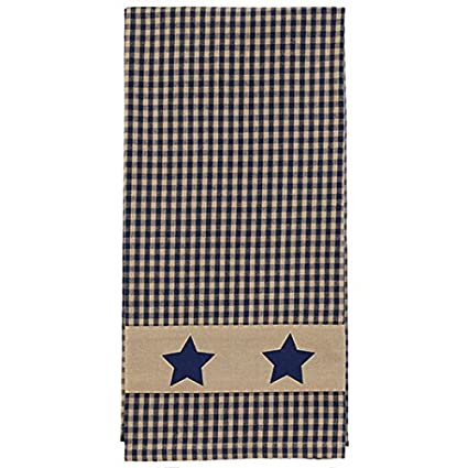 The Country House Collection Country Colonial Navy Star Towel Plaid 19 X 28  Inch Applique All