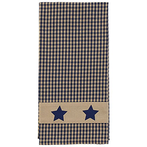 The Country House Collection Country Colonial Navy Star Towel Plaid 19 x 28 Inch Applique All Cotton Hand Tea Towel