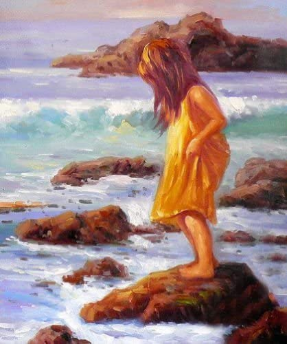 CHILDREN LITTLE GIRLS PLAYING ON THE BEACH PAINTING ART REAL CANVAS GICLEE PRINT