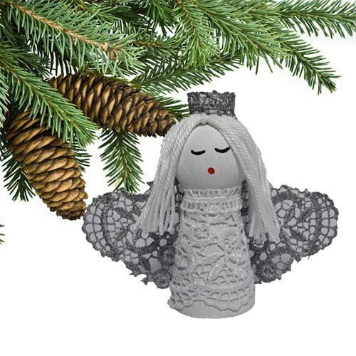 Xmas Angel Ornament Silver Wings Holy Land First Christmas Gift Small White Handmade Art Doll