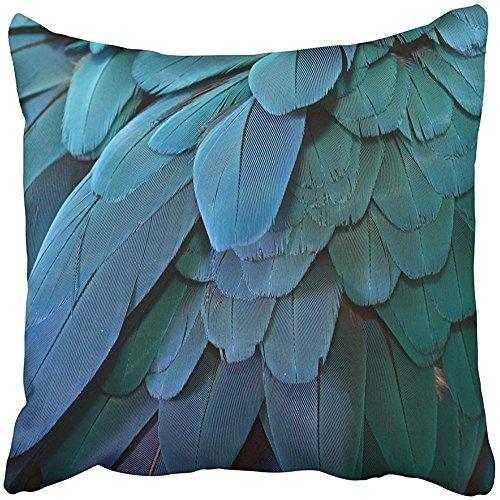 Throw Pillow Cover Square 18x18 Inches Blue Bird Parrot Feathers Blue Aqua Exotic Macaw Pet Wings Ara Ararauna Polyester Decor Hidden Zipper Print On Pillowcases