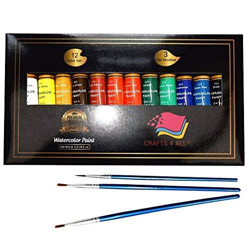 Watercolor Paint Set By Crafts 4 All 12 Premium Quality Art