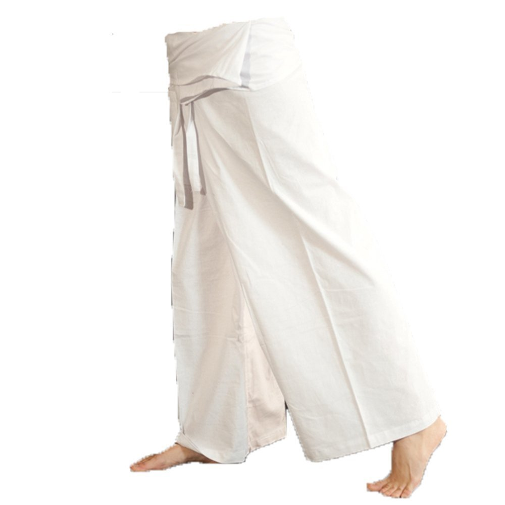 Grandde Best Seller Thai Cotton Drill Fisherman Pant Yoga Pregnancy Pant (Cream White).. Free 1 Gift Wallet..!!.