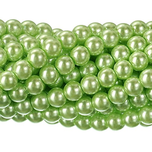 RUBYCA 200Pcs Czech Tiny Satin Luster Glass Pearl Round Beads DIY Jewelry Making 14mm Light Green -