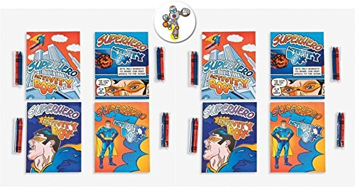 24 Superhero Activity Books with Crayons and a Superhero Pin Back Button