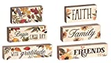 6 Pc Set Blessed Beyond Measure Faith Family Friends Harvest Stacking Blocks Décor