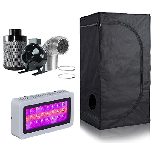 BloomGrow 300W LED Grow Light+High Reflective 600D Mylar Grow Tent+4'' Inline Fan Carbon Air Filter Ducting Combo for Hydroponic Indoor Plant Growing System (LED300W+24''X24''X48''+4''Filter Combo) by BloomGrow