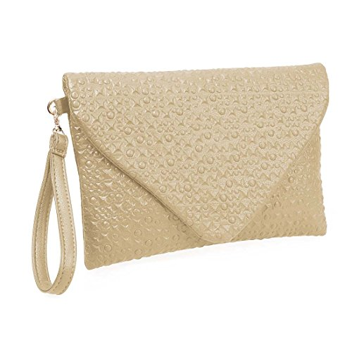- BMC Fashion Forward Dinosaur Eggshell Faux Leather Envelope Style Studded Square Circle Fashion Clutch