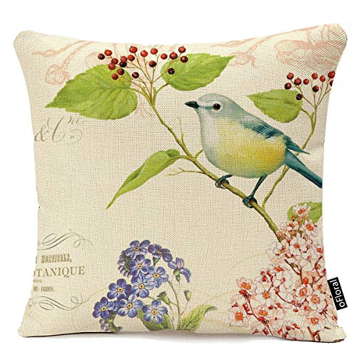 Jacquard Bird On The Tree Cotton Linen Decorative Throw Pillow Case Cushion Cover Accent Decorative Throw Pillow Case 18x18 Inches
