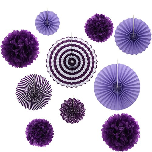 Set of 10 Purple Paper Fans Rosettes Hanging Ornament Birthday Party Wedding ()