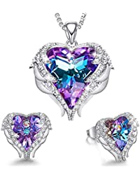 2c6a6e373 Angel Wing Heart Necklaces and Earrings Embellished with Crystals from  Swarovski 18K White Gold Plated Jewelry