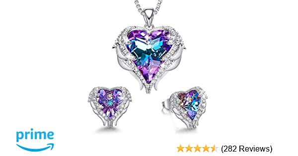 9e2203ec01 Amazon.com: CDE Jewelry Set for Women Angel Wing Embellished with Crystals  from Swarovski Pendant Necklace Heart of Ocean Stud Earrings Gift for  Mothers ...