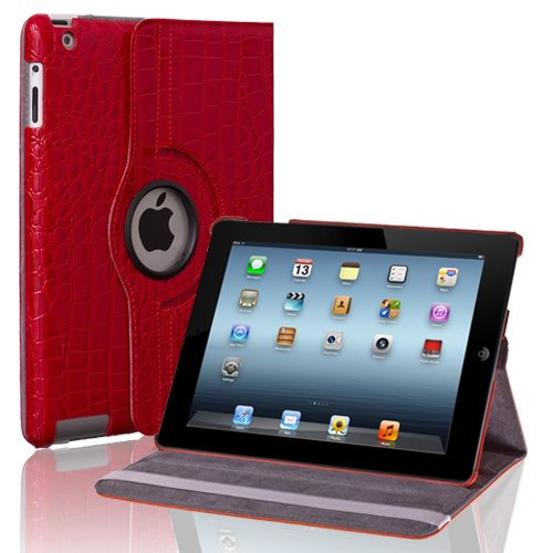 CE Compass Swivel-N-Go 360 Rotating Leather Case Smart Cover Stand For Apple iPad 4 3 2 WiFi 3G LTE (Crocodile/Red)