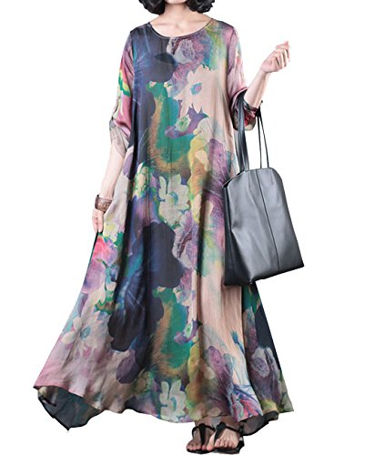 YESNO JDC Loose Colorful Floral Swing Dress Roll-up Sleeve Summer Beach Side Pocket (Silk Long Dress)