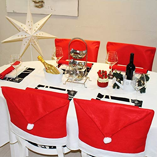 Santa Hat Chair Dining Room Covers Slipcovers Seat Back Covers Christmas Decoration, Set of 4 -
