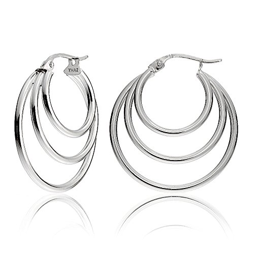 Sterling Silver Triple Circle Round-Tube Polished Hoop Earrings, 30mm