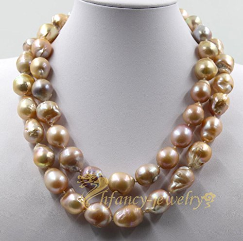 Row Pink Freshwater Pearls (freshwater pearl pink baroque reborn 18-23mm necklace 18-20