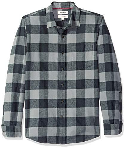 (Goodthreads Men's Slim-Fit Long-Sleeve Brushed Flannel Shirt, -grey/black buffalo,)