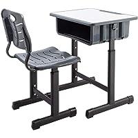 Kids Desk and Chair Set Height Adjustable Ergonomic Children Sturdy Table, Childs Study School Desk Kids Art Writing Desk (Black)