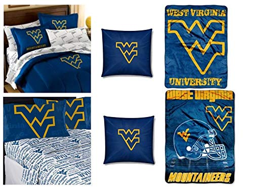 Northwest NCAA West Virginia Mountaineers 15pc Full Bedding Set- Includes Full Comforter, 2 Shams, 4pc Full Sheet Set, 2 toss Pillows, Blanket, Throw, and Extra 4pc Full Sheet Set