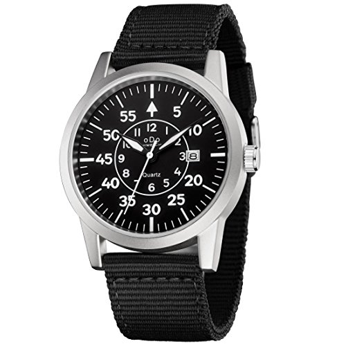 - Watches Men Army Military Field Analog Watch Quartz Wrist Watches for Men with Black Canvas Band Calendar Date Silver-Black