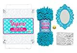 Luxe School Locker Organizer Kit - Accessories and Decoration Set with Shelf, Rug, Mirror and Bin (Aqua)