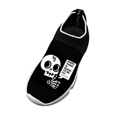 e49e65c0beb4 Amazon.com  Skull Funny New Style Fly Knit Shoes Kids Casual Sports Sneakers   Clothing