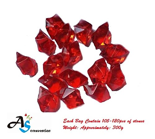 A&S Creavention Translucent Acrylic Ice Rocks Crystals Gems for Vase Fillers, Table Scatters, etc. 300g/Bag (Red)