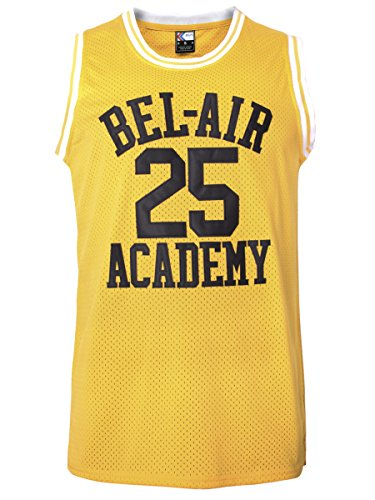 MOLPE Carlton Banks #25 Bel Air Academy Basketball Jersey S-XXXL Yellow (M)