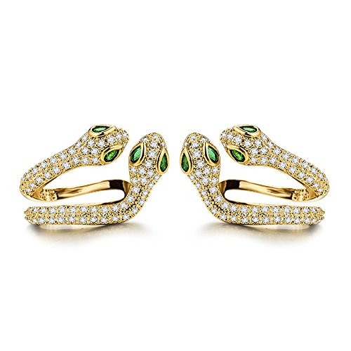 mmetric Sparkling Glaring Crystal Snake Shaped Earrings Cuff Clip (Gold-left) ()