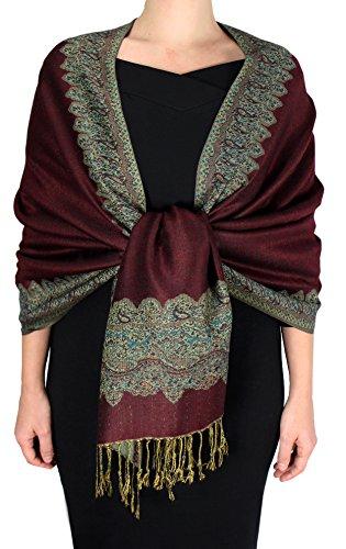 Peach Couture Women's Ravishing Reversible Jacquard Paisley Shawl Wrap Pashmina Cranberry Red Dark - Afghan Shawl