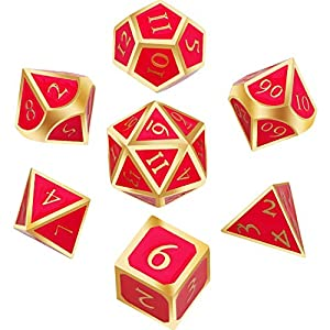 Hestya 7 Pieces Metal Dices Set DND Game Polyhedral Solid Metal D&D Dice Set with Storage Bag and Zinc Alloy with Enamel for Role Playing Game Dungeons and Dragons, Math Teaching (Golden edge Scarlet)