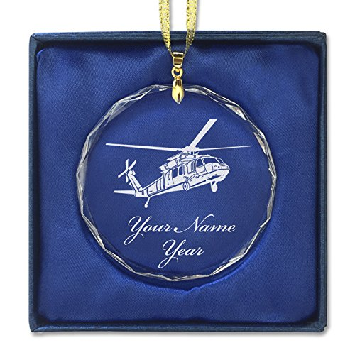 Round Crystal Christmas Ornament - Black Hawk Helicopter - Personalized Engraving Included