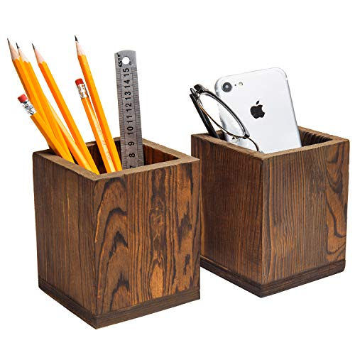 Wooden Pencil Holder (Set of 2 Natural Grain Wood Desktop Pen & Pencil Holder Cups, Office Supplies Organizer,)