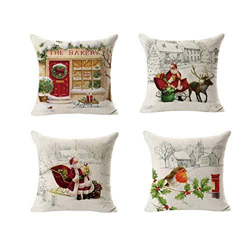 Christmas Pillow Case Set of 4 Wakeu Santa Claus Snowman Mer