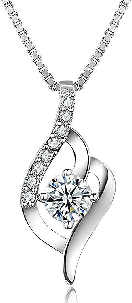 J.Vénus Collar de plata de ley con diamante para mujer,Con una caja(48cm de longitud)