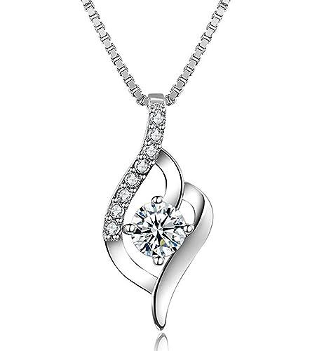 41f8ae3bfc73a Collier, J.Vénus Bijoux Argent 925 Collier Pendentif Femme/Fille Zircon  naturel Blanc
