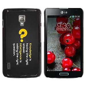 Paccase / SLIM PC / Aliminium Casa Carcasa Funda Case Cover para - Knowledge Deep Message - LG Optimus L7 II P710 / L7X P714