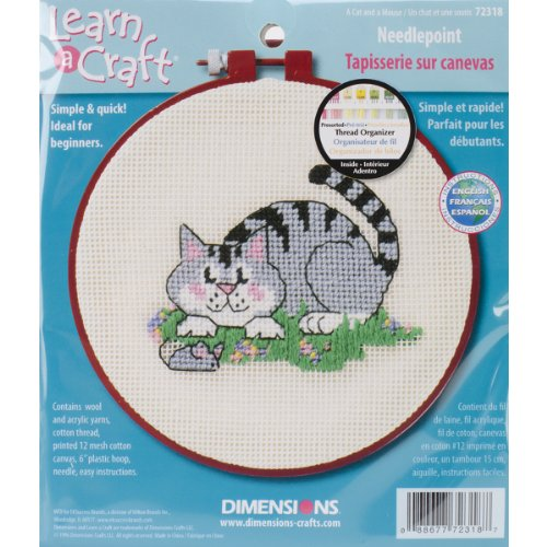 Dimensions Needlecrafts Needlepoint, A Cat And A Mouse Set Needlepoint Kit