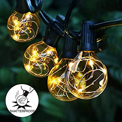 Arzerlize Outdoor String Lights LED for Patio, 35FT Premium 30+2 Bulbs Globe Backyard String Lights 0.1W- IP65… - [ENERGY-SAVING & LONG LIFESPAN LED BULBS]: Upgraded 30 + 2PCS Replacement Plastic LED Bulbs, Low Voltage Energy Saving (0.1W / Bulbs) warm white light color, with an extremely long life can Last 30,000 hours. Over 90% energy over incandescent bulbs. [SAFETY & EASY TO INSTALL & DURABLE CABLE]: The IP65 Waterproof and weatherproof outdoor led string lights with heavy-duty Acrylic material can be safely used in winter and summer outside; You just need to screw bulbs into the empty sockets and hang it with clip; The wires are encased in 10m high-quality rubber. [ACCEPT EXTENSION LEAD & KIDS SAFE & ECONOMIC]: Our LED Patio String Light accept connect with Extension Lead (Asin:B08BHV2ZF1) ,Low Voltage is safer and costs less than incandescent bulbs string lights. The design is without overheating for over hours working. Making kids safe and also saving money. - patio, outdoor-lights, outdoor-decor - 51 gfpYXQqL. SS400  -