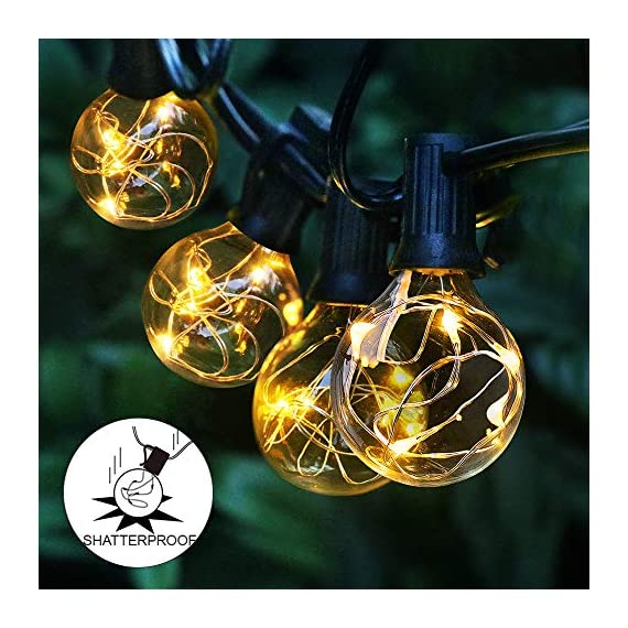 arzerlize String Lights Outdoor, 35FT G40 LED Light String Shatterproof 30 Bulbs E12 Base Decorative Lighting Hanging Patio Waterproof Outside Garden Backyard Bistro Porch Balcony Gazebo Party - [ PERFECT DECORATION ]: Shatterproof perfect decorative LED outdoor globe string lights for living room, patio, backyard, bistro, cafe, balcony, gazebo, garden, market, party, wedding, Christmas, or enjoy a romantic dinner with your lover, creating a sweet and romantic atmosphere for you [ OUTDOOR GLOBE STRING LIGHTS ]: Upgraded 35FT G40 outdoor patio hanging string lights with 30 + 2 replacement energy-saving bulbs-UL Standard. Perfect fit for indoor & outdoor multi occasions. Please Note: The Edison string lights bulb is not dimmable and cannot be connected. For the safety protection of low voltage(Only support 5V bulb) [ WATERPROOF & SHATTERPROOF ]: Waterproof and heavy-duty Acrylic material, lantern string lights can withstand the harsh weather even in heavy rain. High-quality wires and waterproof bulbs can keep the LED globe string lights working perfectly throughout the year - patio, outdoor-lights, outdoor-decor - 51 gfpYXQqL. SS570  -
