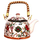 Purpledip Beautifully Painted Ceramic Kettle .5 litres, Steel Strainer included (10145)