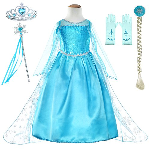 Snow Queen Princess Elsa Costumes Birthday Party Dress Up For Little Girls with Wig,Crown,Mace,Gloves Accessories -