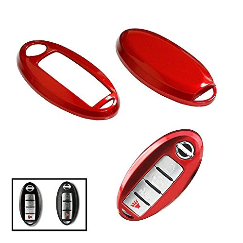 iJDMTOY (1) Exact Fit Gloss Metallic Red Smart Key Fob Shell For Nissan Armada Rogue GT-R Murano Pathfinder Sentra Leaf Titan (4-Button only)