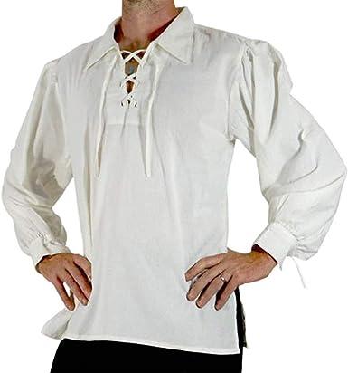 Huateng Camisa Retro con Solapa con Cordones para Hombre: Amazon.es: Ropa y accesorios