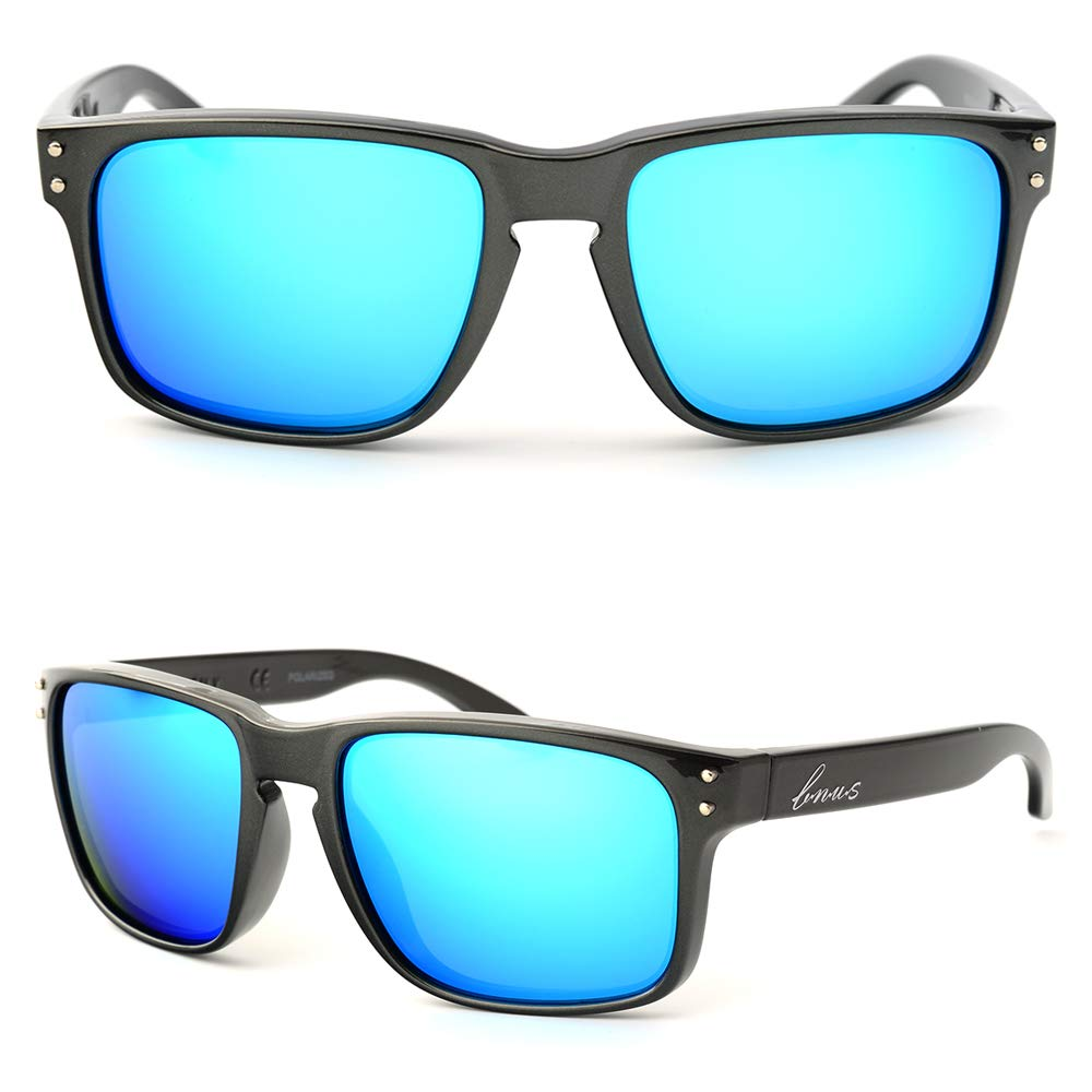 Bnus italy made classic sunglasses corning real glass lens w. polarized option (Pearl Grey Frame/Blue Flash Lens, Polarized)