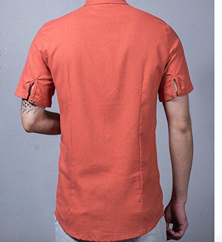 Demi T B En Patte Manches Col Chiné Longues Wslcn Décontracté Lin Shirt shirt Homme Rollant orange De Henley Boutonnage Mao w88qUCgZ