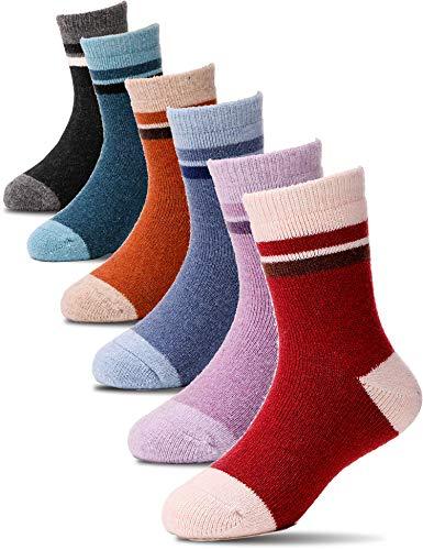 Kids Wool Socks 6 Pairs Toddler Boys Girls Child Warm Winter Thermal Boot Crew Cabin Thick Snow Socks